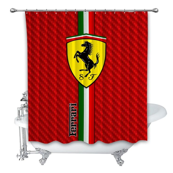 New Best Ferrari Red Carbon Custom Shower Curtain 100% Polyester  – Products