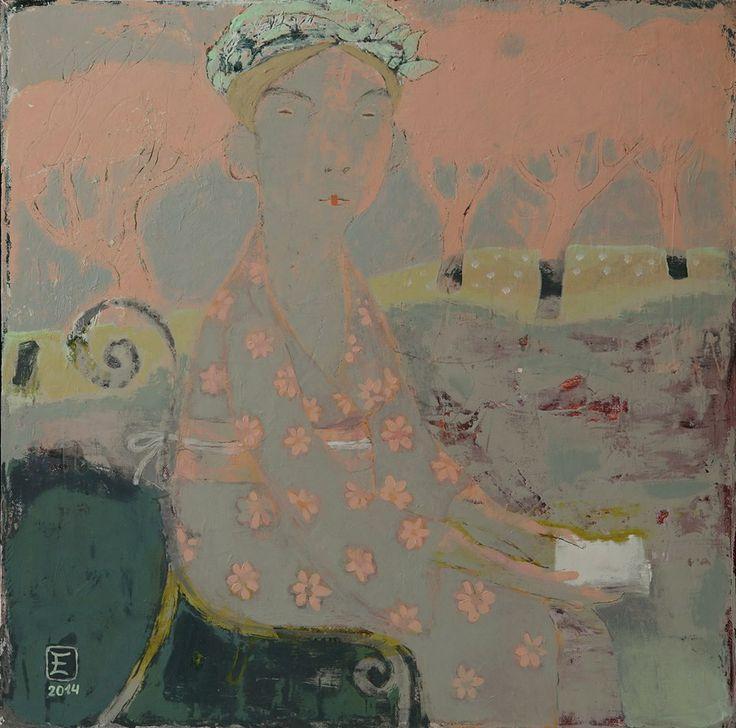 """Елена Шумахер. """"Хокку"""" холст, акрил 70х70, 2014 """"Hokku"""" acrylic on canvas, 70x70, 2014"""