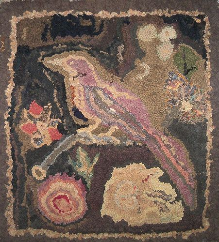 Folky 19th C Hooked Rug Bird On A Branch