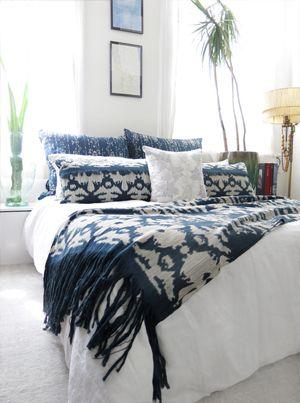 Bed set includes two lumbar pillows and one Indigo Ikat fabric throw in selected pattern of your choice.  **Bed Set pictured in The Dance Indigo Ikat fabric.