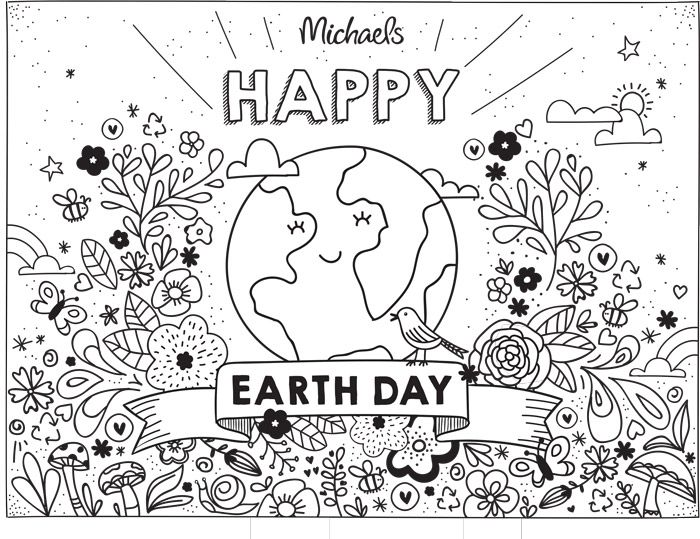 Earth Day Coloring Page ARTS