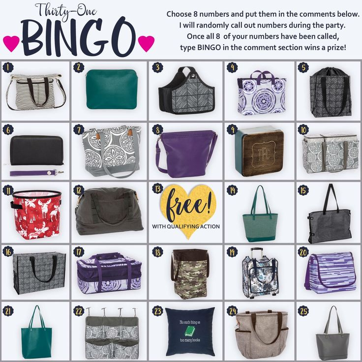 Fall/winter 2017 bingo for your Thirty-One parties and Facebook groups!
