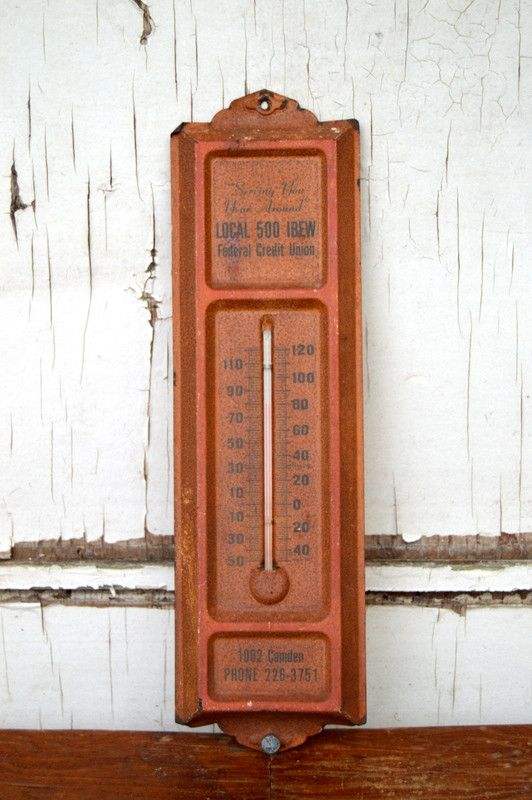 Vintage Wall Thermometer - Rust Red