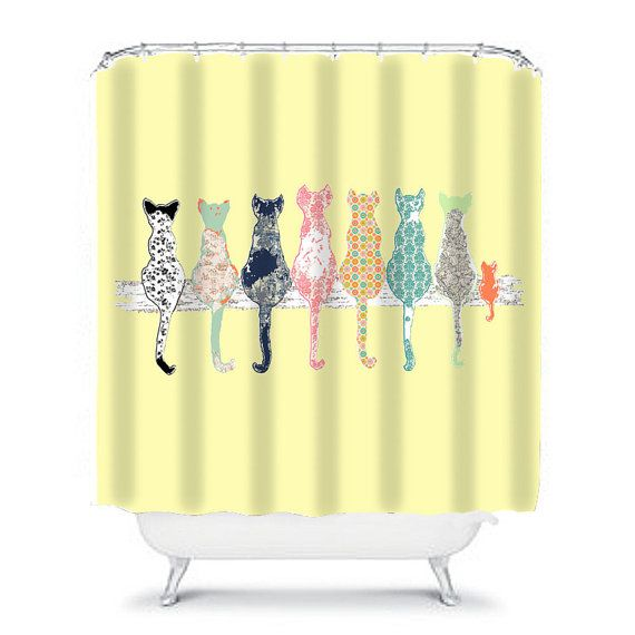 teal and yellow shower curtain. cat shower curtain  cats yellow bathroom decor Best 25 Yellow curtains ideas on Pinterest