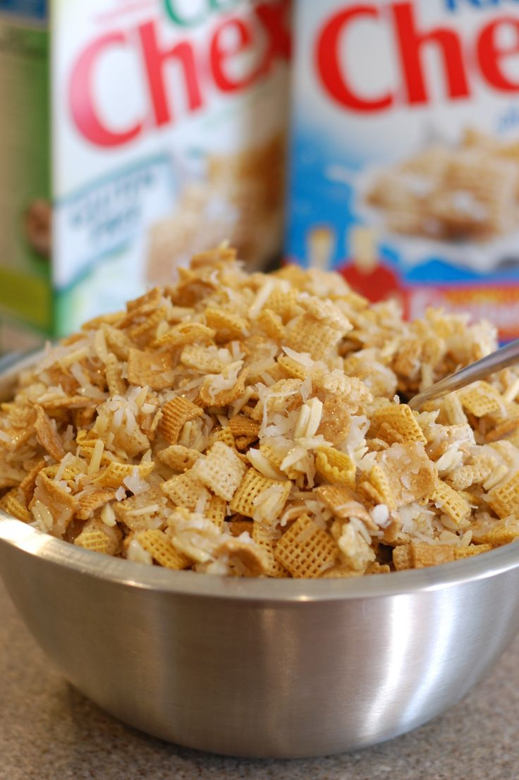 1 small box Golden Grahams,  1/2 box rice chex,  1/2 box corn chex,  2 cups slivered almonds,  1 1/2 cups coconut,  1/2 cup salted butter (1 stick)  1 cup light Karo syrup   1 cup sugar    Mix dry ingredients. Heat last 3 on stove until bubbly (3 minutes) pour over dry ing. Adjust sugar for less sweet.
