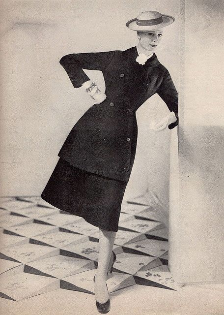 Skirt suit elegance from 1955