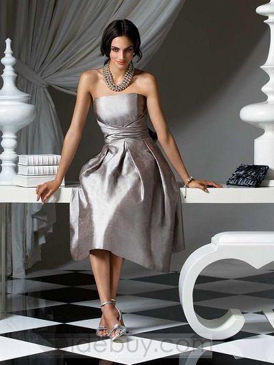 Cocktail Prom Dresses Taffeta Gray Stunning
