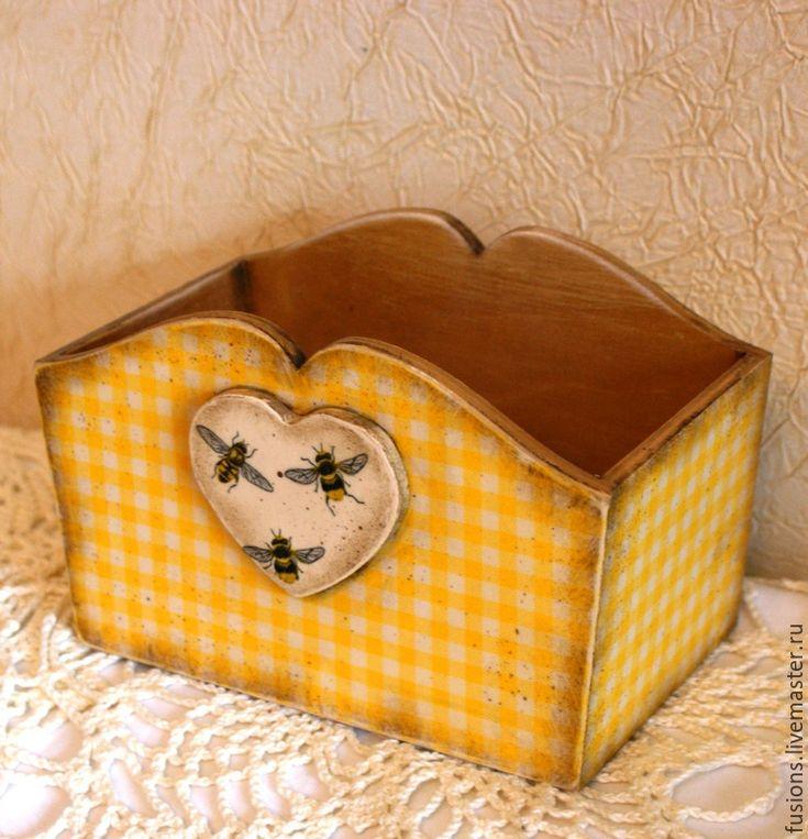 """Купить Короб """"Мед"""" - разноцветный, желтый, пчелы, в клеточку, винтаж, короб, дерево"""