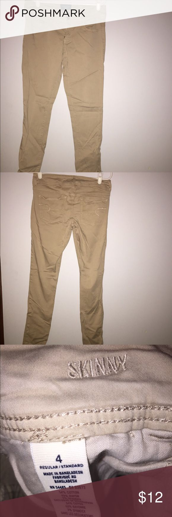 American Eagle Skinny Khaki Jeans Size 4 AE skinny khaki jeans, size 4. Barely worn & in perfect condition. Super comfy and soft, I have another pair that I wear to work every day and love. American Eagle Outfitters Jeans Skinny