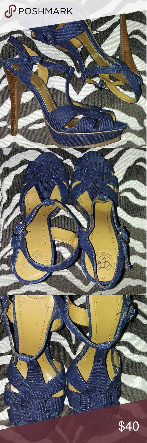 BCBGeneration Denim Jean Tribute Sandal A beautiful, versatile denim sandal worn 1 time!! Like new! Perfect for spring and summer!!! If you would like more pics, just ask.  Thanks!! BCBGeneration Shoes Sandals