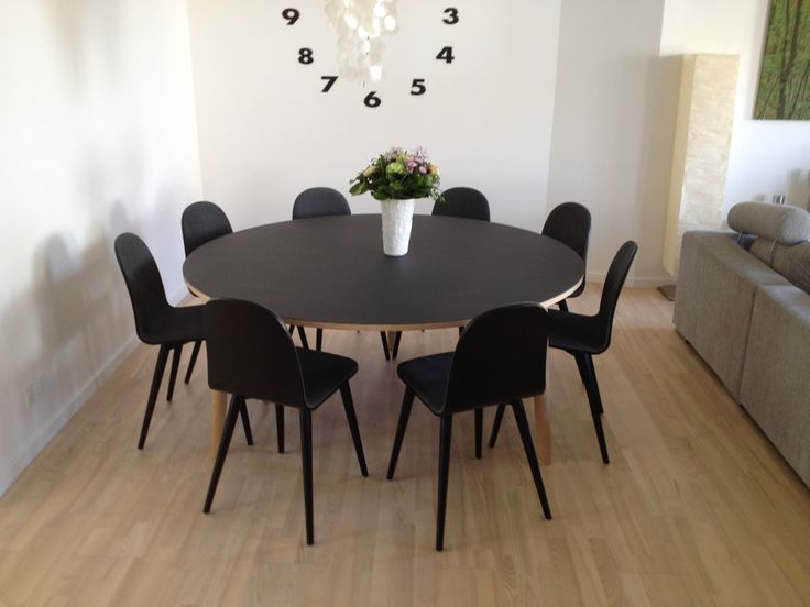 """""""Ø"""" black linoleum table. It is custommade in different colours and sizes.  http://www.kjeldtoft.com/"""