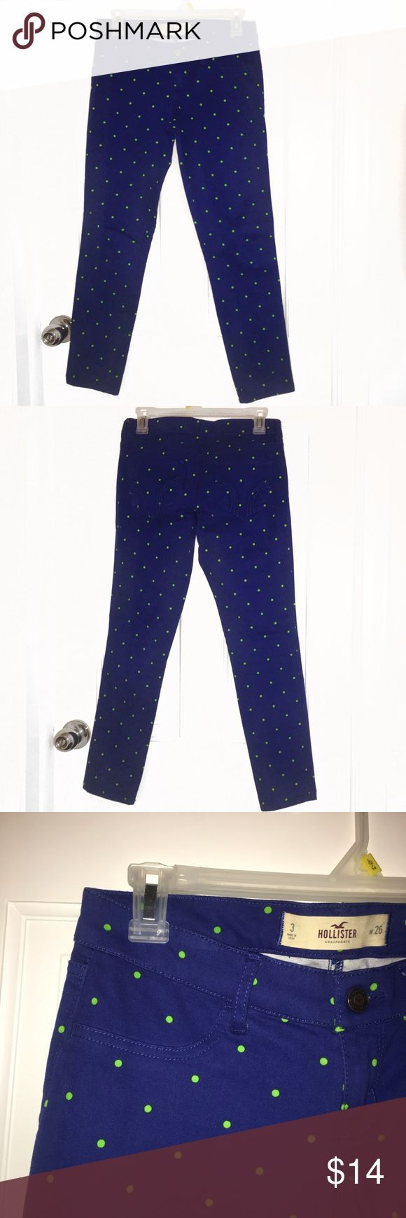 "Hollister Polka Dot Jeggings ‼️BUNDLE & SAVE‼️*add to dressing room bundle & expect a private offer! Hollister Polka Dot Jeggings -Stretchy, Front ""pockets"" do not open (see 6th pic) -Pants are a Dark Blue with Lime Polka Dots -NEVER WORN, PERFECT CONDITION 🚬Smoke free environment 💸Price is negotiable, MAKE AN OFFER! 👇➖➖➖➖➖➖➖➖➖➖➖➖👇 •Additional pictures upon request •Pls ask ALL questions prior to purchasing •Offers via ""offer"" button only •No trades, no holds, no ""lowest?"" Hollister…"
