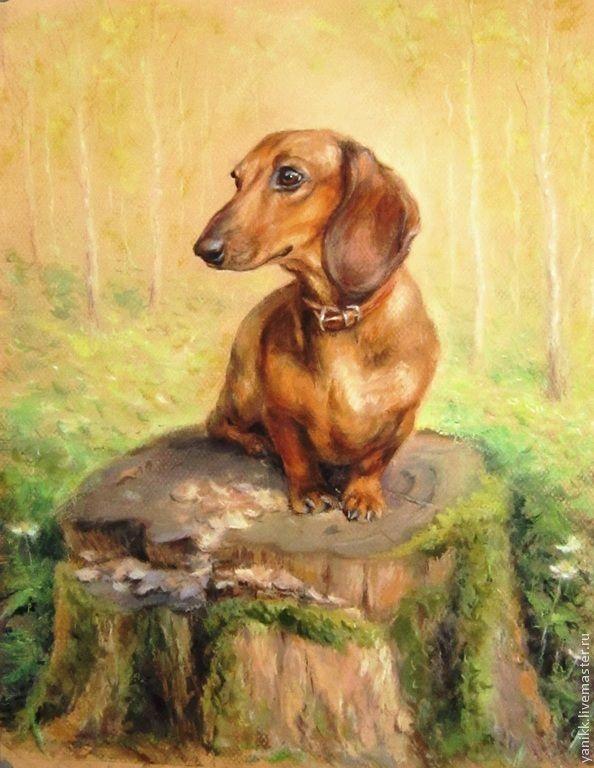 """Купить Картина пастелью и акварелью """"Такса"""" - такса, собака, весна, собаки, анималистика, картина в подарок"""