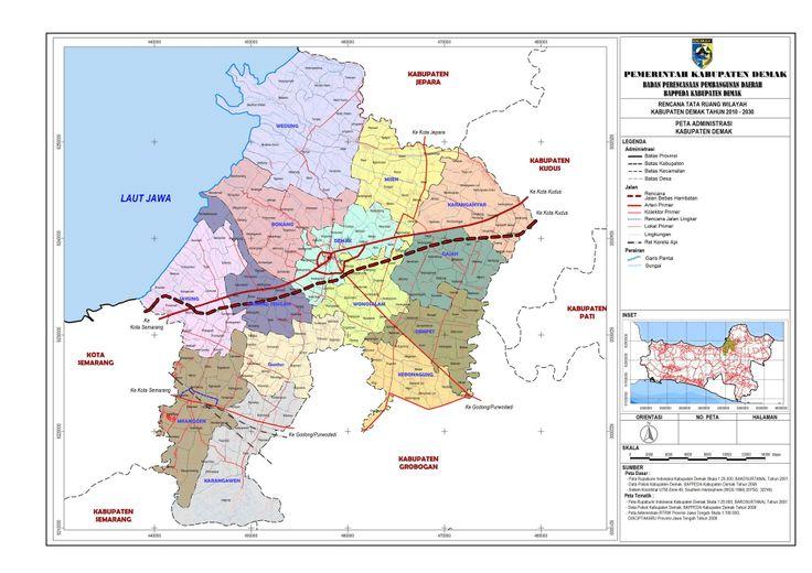 Peta Administrasi Kabupaten Demak   Seni doodle, Peta
