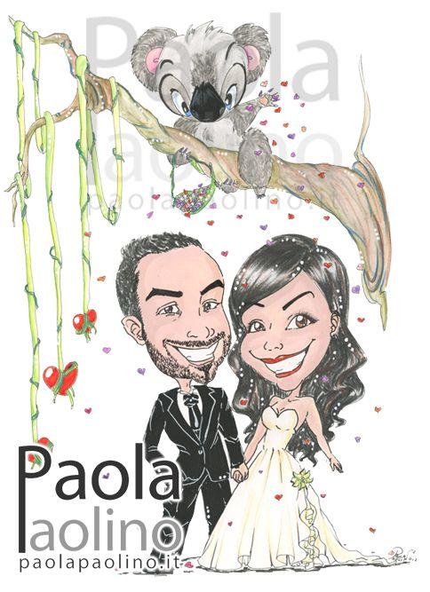 Una caricatura con un fantastico koala che lancia dei petali a forma di cuore sugli sposi. Il tema della caricatura rappresenta il viaggio di nozze in Australia, la terra dei Koala! :) www.paolapaolino.it #caricature #caricatura #caricaturista #ritrattista #illustrazione #arte #matrimonio