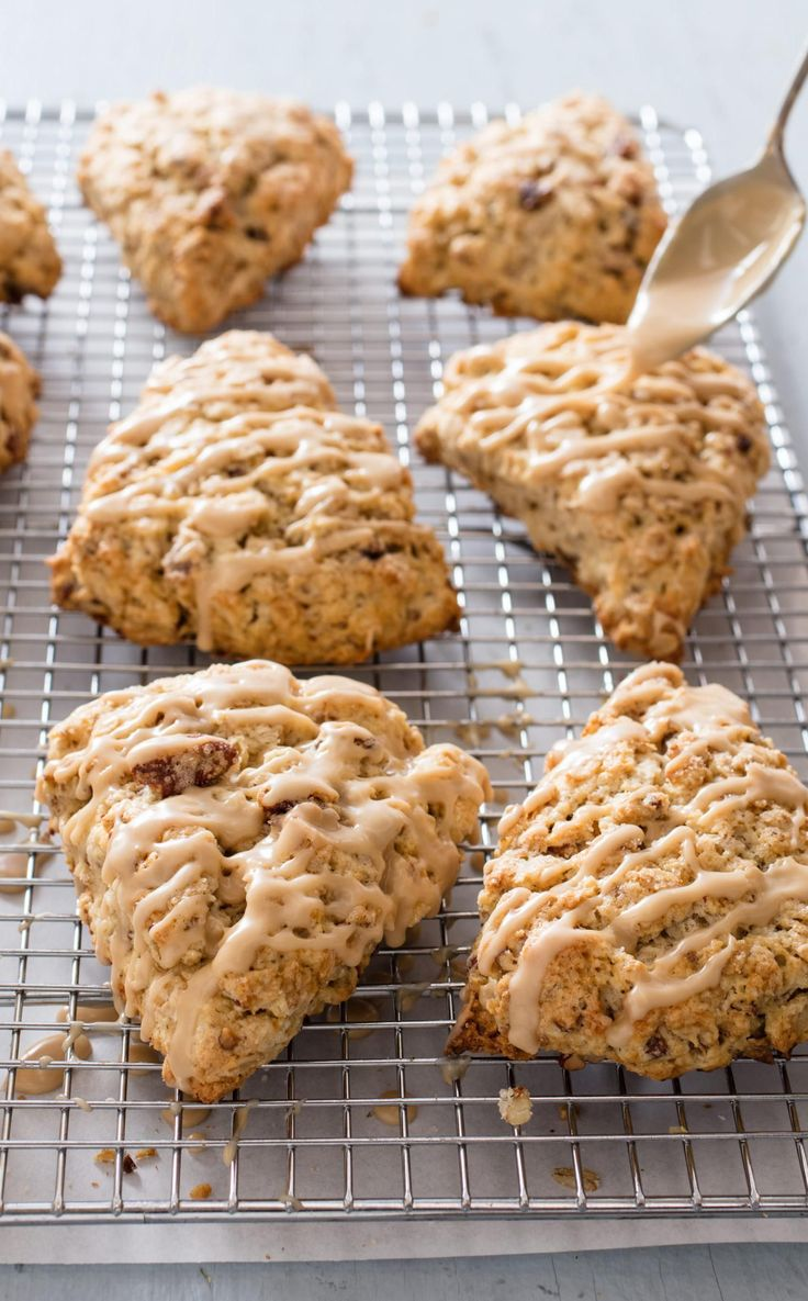 Glazed Maple Oatmeal Scones. In order to obtain the chewy nuttiness one comes to expect in an oatmeal scone, we toast our oats and use both butter and half and half to enrich (but not weigh down) the final product.