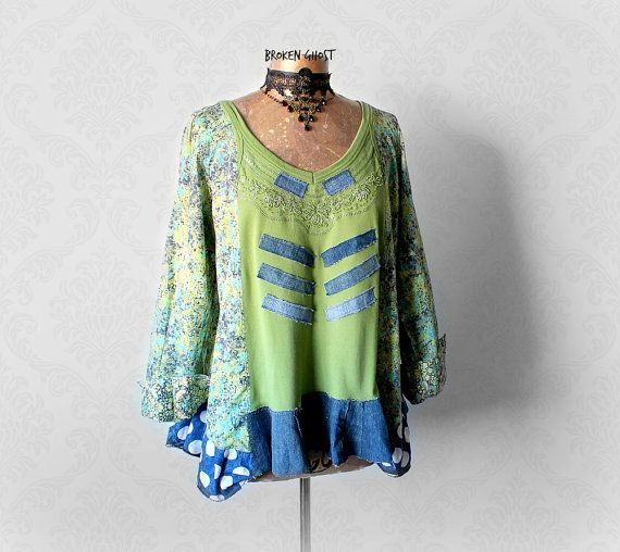 Upcycle Smock Top Green Women's Tunic Loose by BrokenGhostClothing