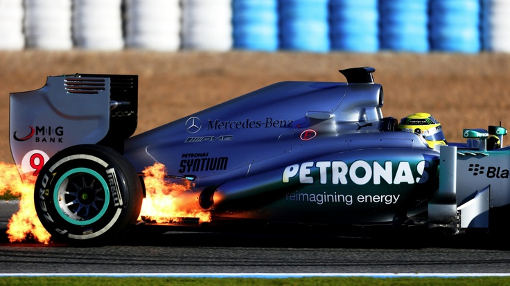 Hamilton catching fire in the W04.