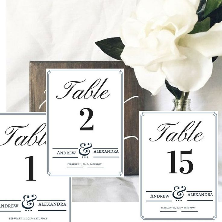 Beautiful Table Numbers With Names And Date Wedding Table Numbers.