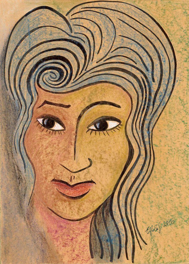 Frauenkopf, Ölkreide auf Packpapier