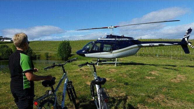 Wheelie fantastic and seacoast helicopters. Fly and cycle combo. This picture was taken at Mahana Vineyard.
