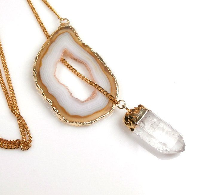 Agate Geode Lariat Necklace Rock Crystal Point Dangle Natural Gemstone Crystal Slice Necklace Fall Fashion under 100. $90.00, via Etsy.