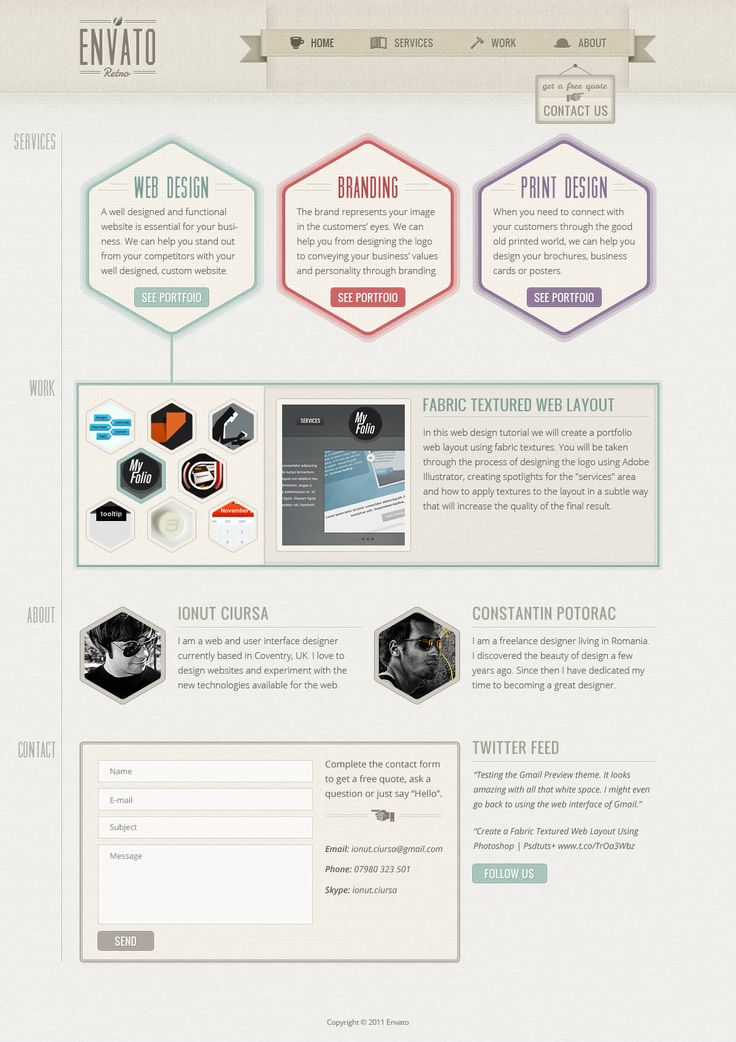 Create a One-Page Retro Web Design Layout in Photoshop | Psdtuts+