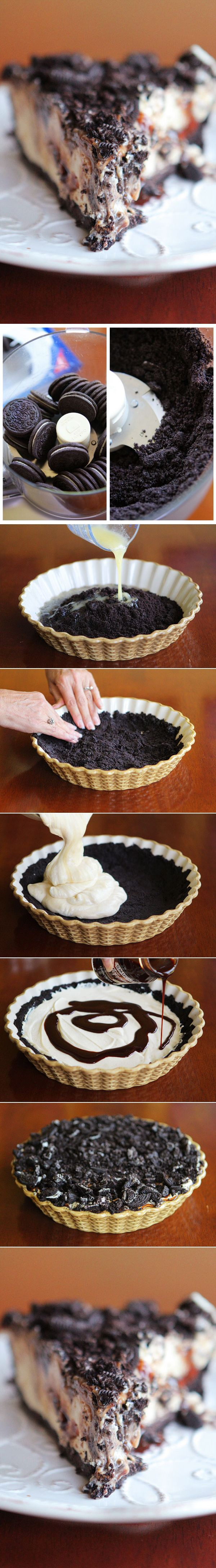 Peanut Butter Oreo Ice Cream Pie - Oh my! I need to find a party to go to so that I have an excuse to make this!
