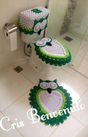 Crochê da Cris: Jogo de banheiro coruja