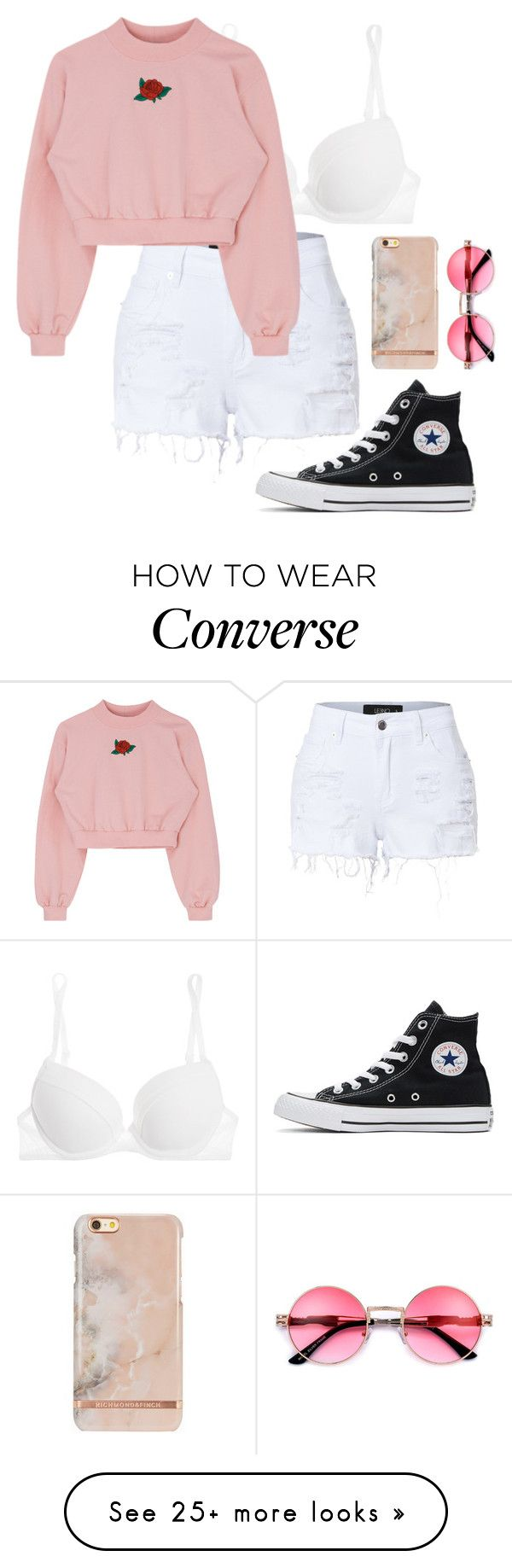 """Lazy but yet fab"" by rowanstella-1 on Polyvore featuring La Perla, Converse and LE3NO"