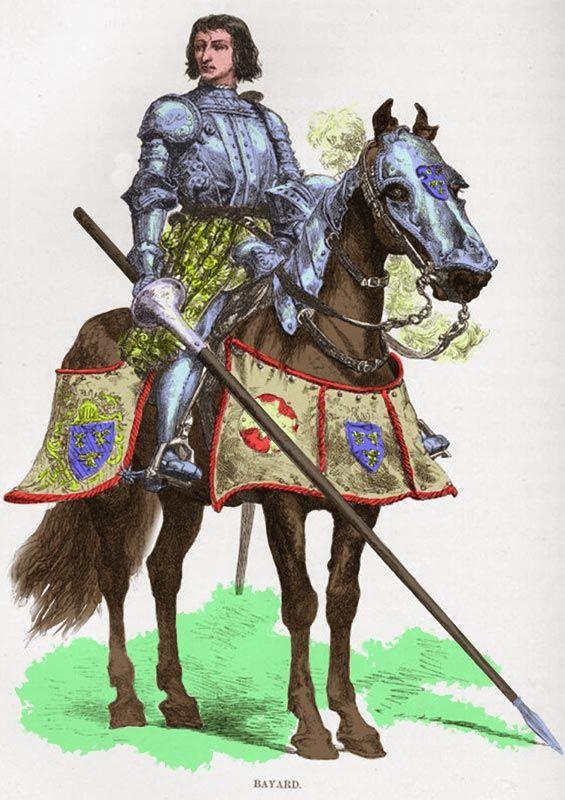 Le chevalier Bayard, sans peur et sans reproche. De son vrai nom, Pierre Terrail, seigneur de Bayard. Ce célèbre chevalier s'illustre au cours des guerres d'Italie, sous Charles VIII. Il meurt d'une balle d'arquebuse le 30 Avril 1524 durant la guerre qui oppose François Ier contre Charles Quint. Illustration de Charles Laplante.