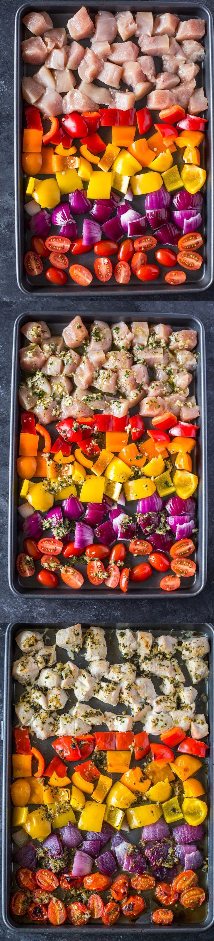 An easy one pan meal to prepare in a hurry.  Sheet Pan Greek Chicken and Veggies | Gimme Delicious