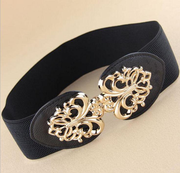 New arrival gold hollow out metal buckle elastic wide waist belt for women,fashion high quality brand cummerbunds