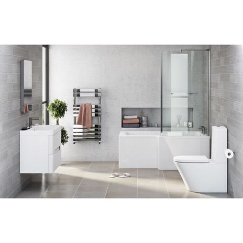 Mode Arte right hand shower bath 1700 x 850 suite with Planet 800 wall hung unit