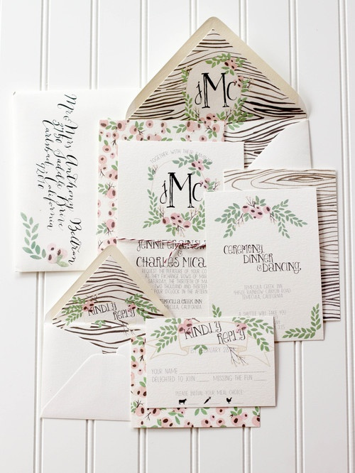 Woodgrain, Classy Wedding Invitation  (Maybe with sunflowers and music notes instead?)