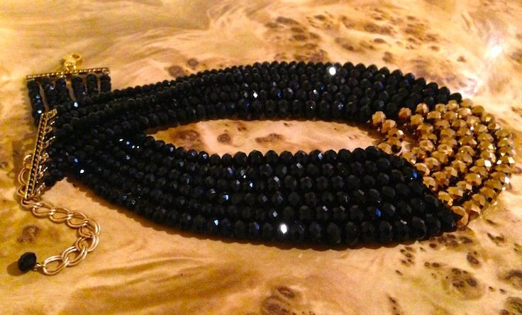Black & gold glass bead statement necklace.