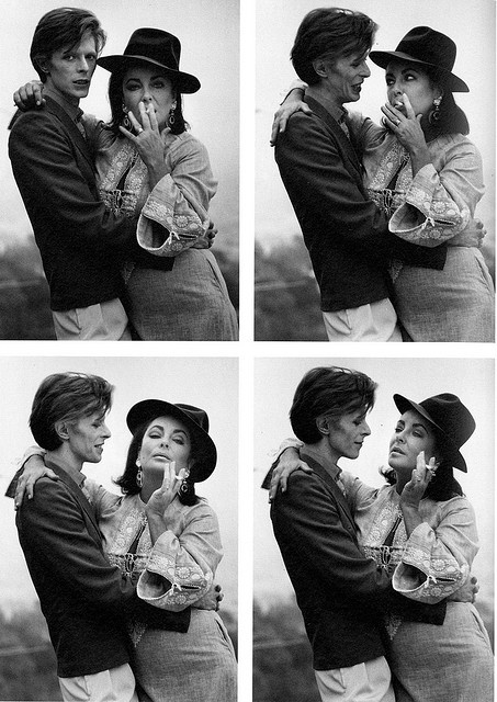 Elizabeth Taylor & David Bowie by Terry O'Neill (1975)