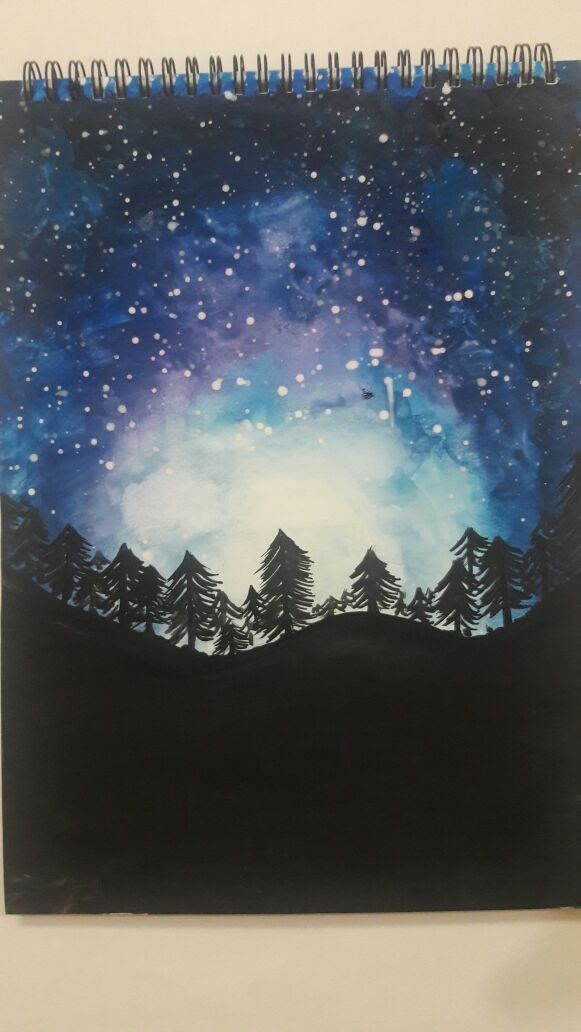 Image Result For Watercolor Starry Sky Watercolor Night Sky Night Sky Painting Drawing Sky