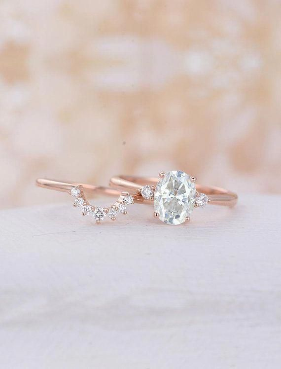 Oval Moissanite Engagement Ring Set Rose Gold Engagement Ring Curved