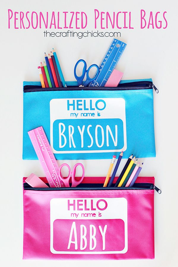 Personalized Pencil Bags for Back to School -- love this idea from @craftingchicks #backtoschool #pencilcase #craft