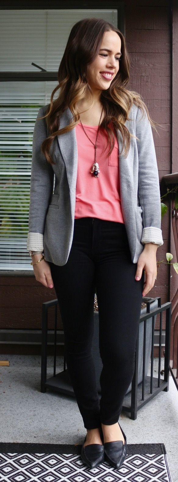 Jules in Flats - Grey Blazer and Black Jeans