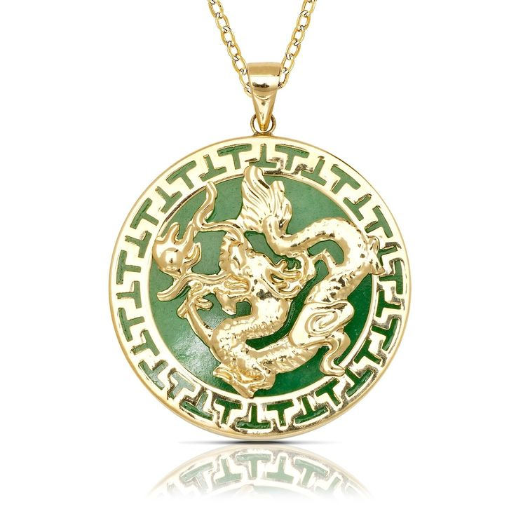 Jade dragon 25 pinterest 14k yellow gold 16 inch jade dragon circle pendant necklace mozeypictures Gallery