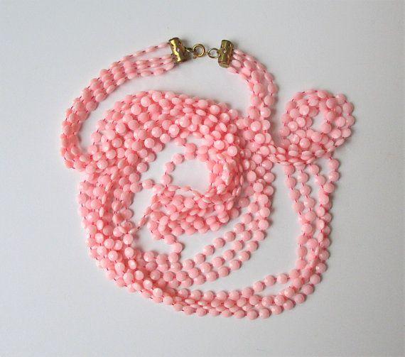 Vintage Long 4 Strand Pink Necklace Soft Pink Flat Round