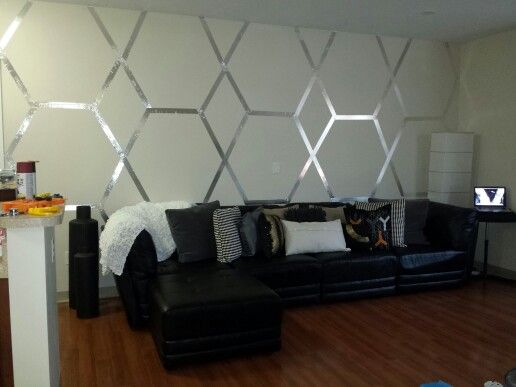 accent wall using my geometric skills & some foil tape