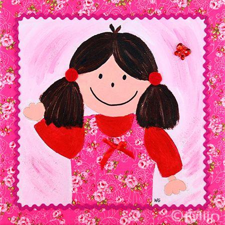 Fleur met de roze jurk. Op stof geschilderd. te koop via www.julijn.nl