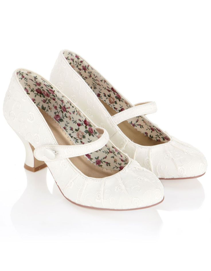 These are the prettiest bridal shoes I have ever seen!  I adore Mary Jane's and the pleated fabric and embroidery on these ivory shoes is just perfect.  The heel height is just right for me as I can't walk in very high heels.  These would finish off a tea-length wedding dress to perfection.  £89 from Monsoon.