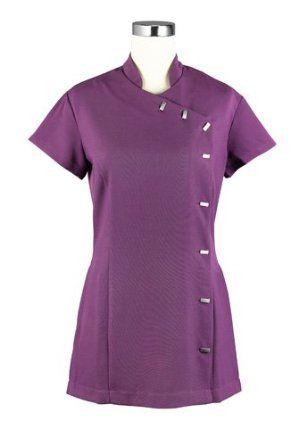 Beauty Therapist Salon Uniform Tunic with Pockets - Deep Purple - Amethyst: Amazon.co.uk: Clothing