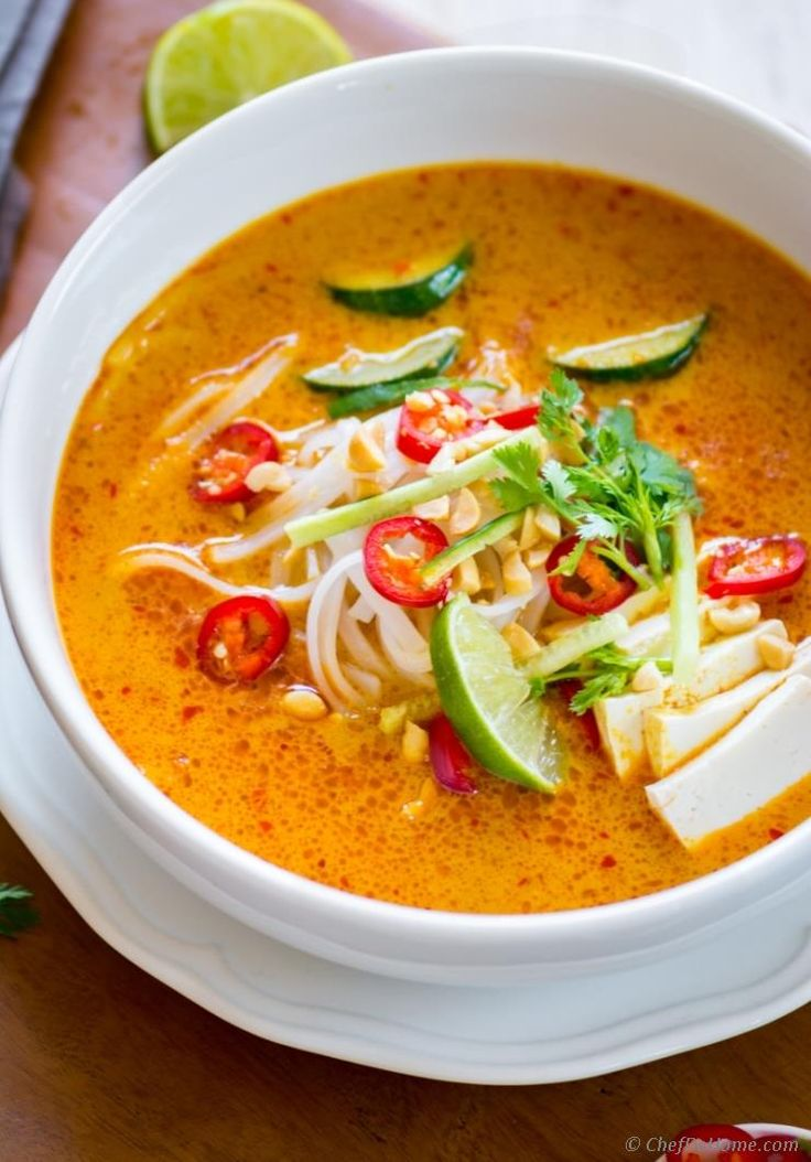 Starting Monday with a flavorful meatless vegetarian coconut curry soup made with Malaysian-style red curry paste called Laksa. Just like any other glorious bowl of Curry Soup, I like to eat Laksa...