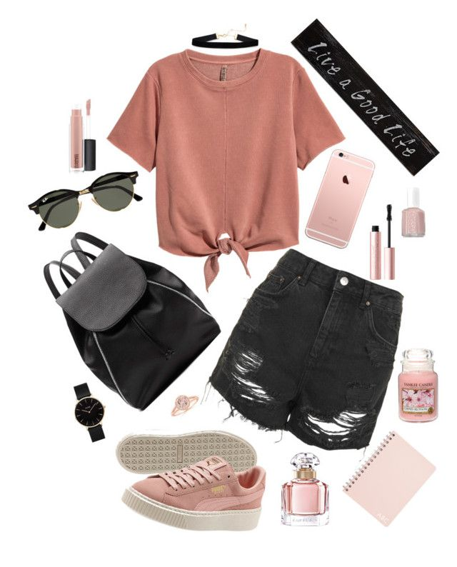 """""""Cute"""" by vanna0803 on Polyvore featuring Topshop, Witchery, Ray-Ban, Too Faced Cosmetics, MAC Cosmetics, Essie, Guerlain, CLUSE, Yankee Candle and Creative Co-op"""