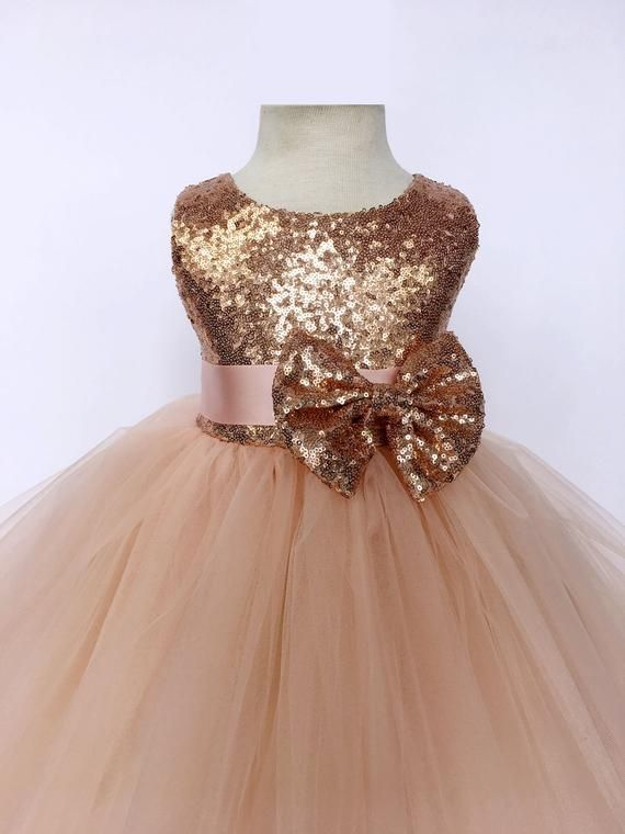 Rose Gold Sequin Tulle Bridesmaid Wedding Flower Girl Etsy